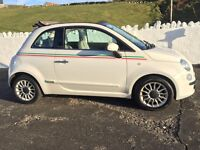 Good condition Fiat 500c White with Italian stripe, low mileage & low road tax