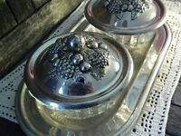 Vintage Pair of Cut Glass Jam Preserve Dishes with Ornate Silver Plated Repousse Lids Serving Tray
