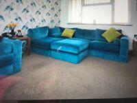 Torquoise velvet l shape sofa