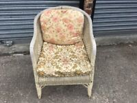 Vintage Lloyd Loom Style Conservatory Chair With Cushions