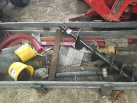 Tractor mounted post hole borer
