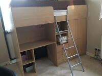 Cabin bed with desk, draws and wardrobe