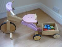 Wooden trike and trailer with blocks Excellent condition