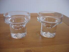 """DARTINGTON"" GLASS CANDLE HOLDERS (2)"
