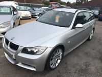 2007/56 BMW 3 SERIES 3.0 325D M SPORT TOURING 5DR DIESEL ESTATE,SILVER,HIGH SPEC FULL LEATHER