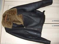Black Leather Luxury Sheepskin Lined Bomber Jacket XL