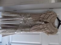 Karen Millen champagne wedding outfit suitable for Mother of the Bride (size 10)