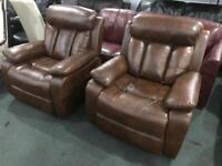 As new leather recliner armchairs £155 each
