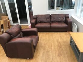 3 seater leather sofa and chair.