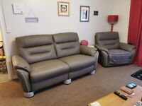 Leather sofa 3 seater & 1 reclining chair in grey leather