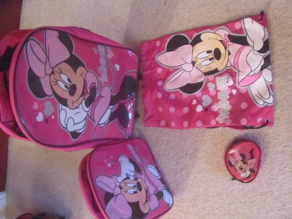 Minnie Mouse pull along bag, rucksack and purse