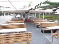 Ex river boat double sided T format hardwood bench seats
