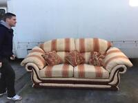 Cream gold red settee three seater a+