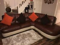 Brown Two tone Corner Sofa
