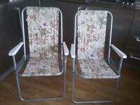 2 vintage floral fold up deck chairs
