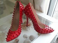 AUTHENTIC CHRISTIAN LOUBOUTIN PIGALLE RED PATENT SPIKE SHOES