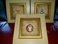 Three Hand Painted Wooden Pictures