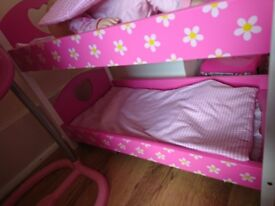 Pink dolls bunk bed cot