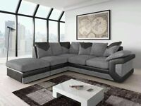 CHEAP PRICE /// BRAND NEW JUMBO CORD BLACK AND GRAY CORNER SOFA