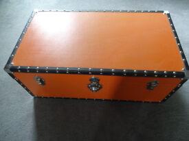 Vintage looking Modern Orange Storage Trunk, Ottoman