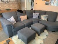 Ikea Corner Sofa - Grey - 2 Footstools also