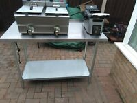 stainless steel preparation table with under shelf 4 ft x 2ft