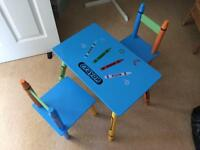 Kids crayon craft table and chairs