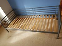 Single metal ikea bed and mattress