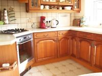 Fitted Hardwood Kitchen with worktop and built in oven. Only £250