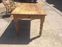 Antique pine table and 2 chairs