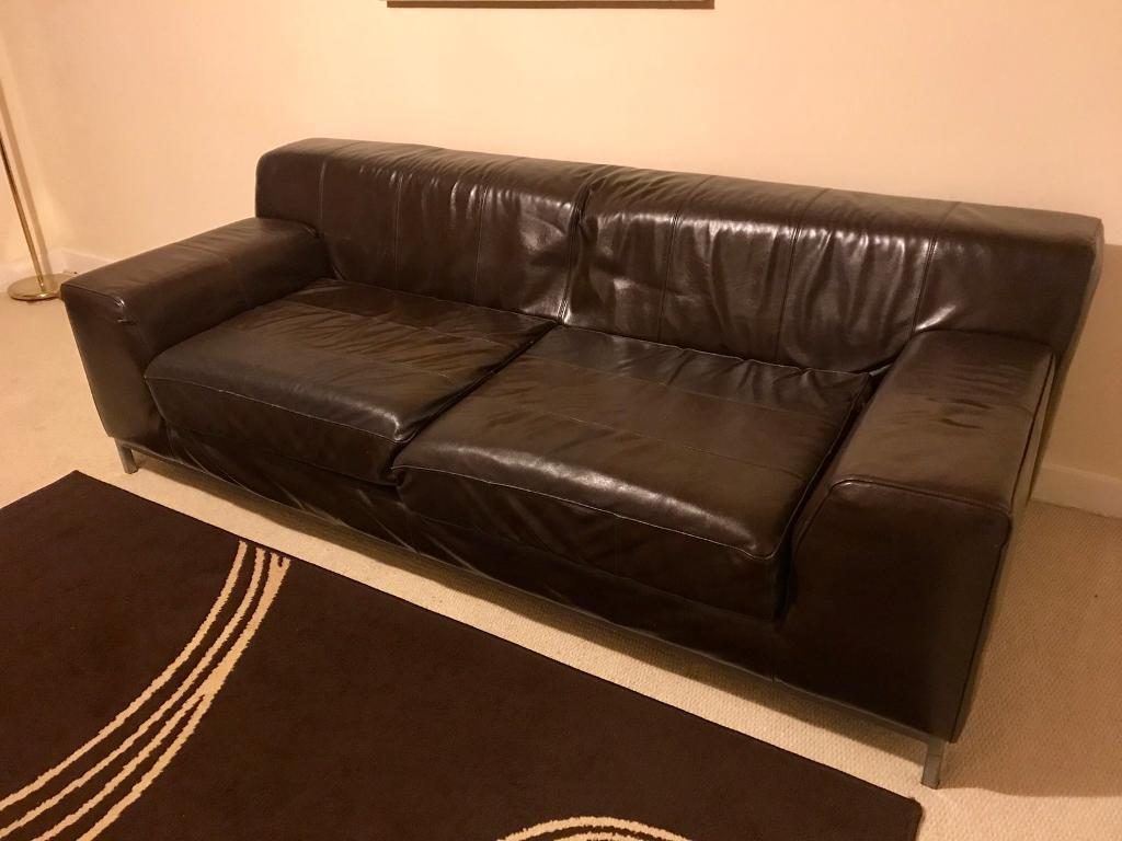 Outstanding Dark Brown Ikea Faux Leather Sofa Reduced In Aberdeen Gumtree Pdpeps Interior Chair Design Pdpepsorg