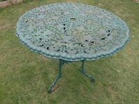 cast garden table 31 inch wide x 28 inch high
