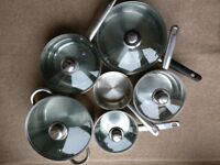 Set of 6 Stainless Steel Sauce Pans Various Sizes