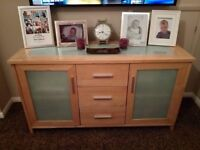 Solid wood sideboard with frosted glass, Very Good Condition.