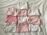 Bundle of 10 X 9/12 Months Baby Girl Long Sleeved Vests/Bodysuits In Good Condition :)