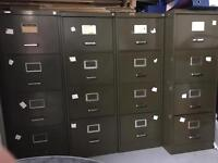 Four vintage filing cabinets