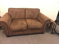 Large 2 seater Sofa, brushed suede/leather material with stud detail