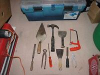 Toolbox And 10 Hand Tools Inc Hammer Saw Pliers Chisel