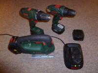 Bosch 18v cordless set - Hammer drill - Torque driver - Jigsaw - 5 batteries - charger
