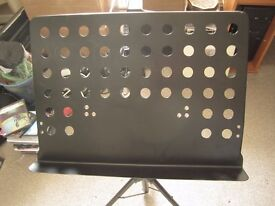 Metal music stand for concert.