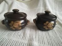 PAIR OF CHOCOLATE BROWN SOUP POTS