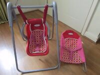 GRACO DOLLS SWINGING CHAIR & BOUNCER LOVELY MATCHING ITEMS!!