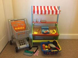 Kids wooden fruit stand complete with trolley , basket and fruit with money belt and money