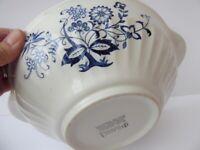 Blue Nordic serving dish or bowl. Blue and White china. Scandi design pattern. Vintage.
