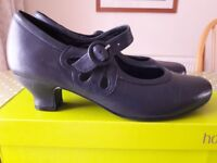 HOTTER Valetta Ladies Navy Blue Leather Mary Jane 1920's Style Shoes Size UK 6 STANDARD Fitting BNIB