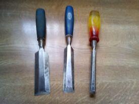 chisels x 3 wood marples