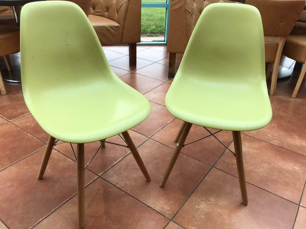 4 X Eames Style Lime Green Dining Chairs In Port Talbot Neath Port Talbot Gumtree