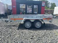 BRAND NEW 8.10 FT x 4.3 FT TWIN AXLE TEMARED ECO TRAILER FLAT 750KG