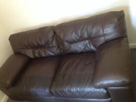 (offers around £250) Set of genuine Italian brown leather 3,2,1 seater sofas