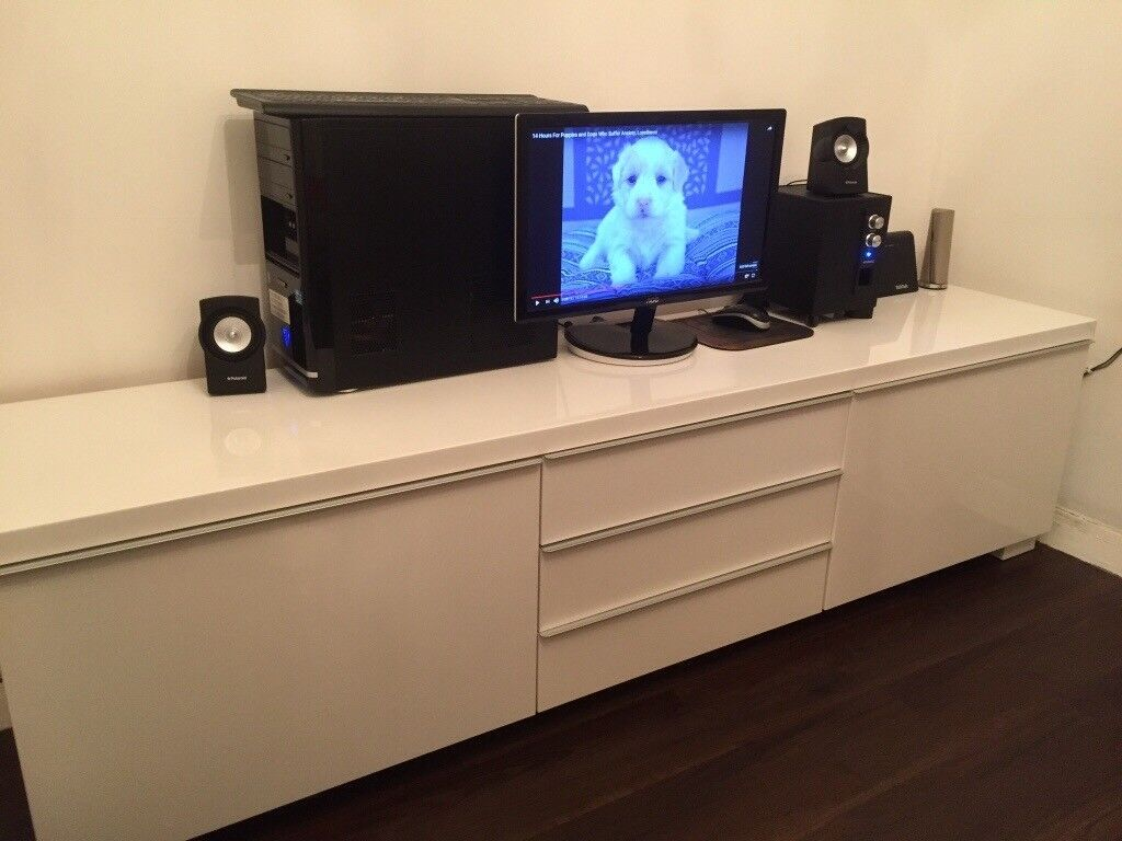 TV unit white gloss from IKEA
